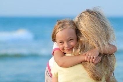 matka, máma, dcera, dítě, mateřství, pláž, štěstí
