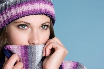 Žena,šála,čepice,vlna,mráz,zima