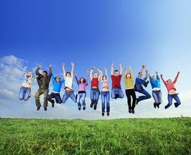 Děti ve výskoku
