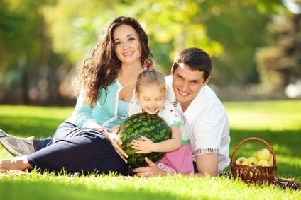 táta, máma, syn, kluk, ležící v letním parku