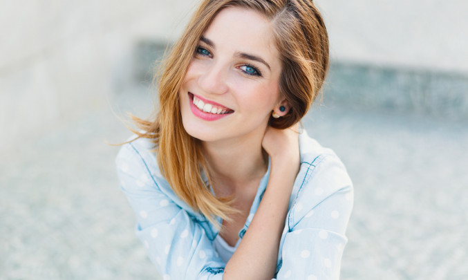 žena, úsměv, zuby