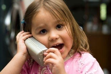 Dítě, mluvení, holčička, telefon