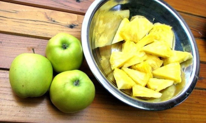 ovoce, jablko, ananas, jídlo