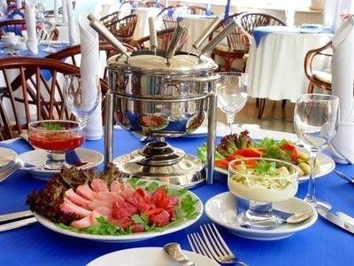 fondue, restaurace, stůl, jídlo, oběd, večeře