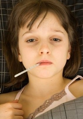 teploměr, nemoc, dítě, holčička, zvýšená teplota