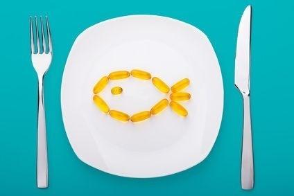 ryba, olej, kapsle, talíř