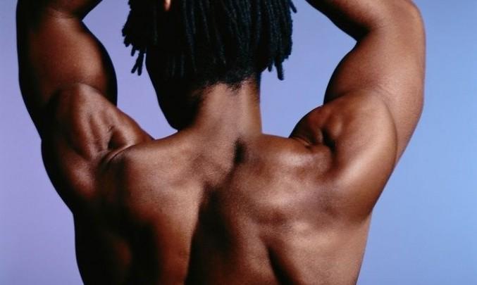 muž, záda, síla, svaly, testosteron, posilovna, černoch