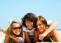 pláž, léto, přátelé, opalování, dovolená