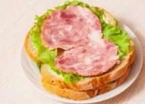chleba, salam, sunka, sendvic, maslo, svačina
