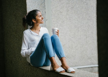 káva, žena, odpočine, relax