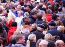 fronta, dav, lidé, tlačenice
