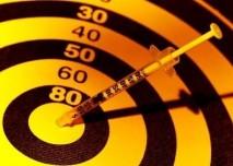 Inzulin, diebetes, injekce, terč,přímý zásah do černého