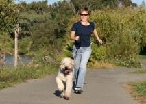 žena se psem na procházce