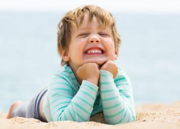 dítě, pláž, léto