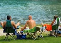 koupání, jezero, rybník, léto, lidé, opalování, pláž, odpočinek