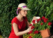 Žena s květinami