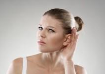 žena, bolest, ucho, hlava
