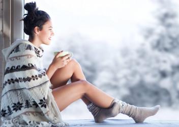 zima, žena, káva