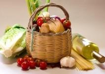 košík s potravinami