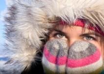 Žena, zima, kožich, mráz,rukavice