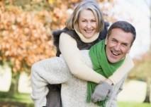 důchodce, štěstí, manželé, pár, radost, podzim