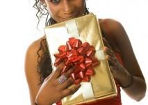 dárek, černoška, mladá žena, radost, Vánoce, krása, svůdnost