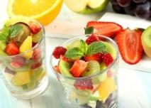 ovoce, sklenici, salát