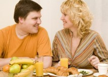 snídaně, manželé, ráno, jídlo, smích, partneři, džus