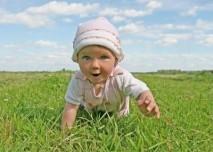 dítě, tráva, mimino, batole