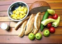 jídlo, chléb, pečivo, zelenina, ovoce