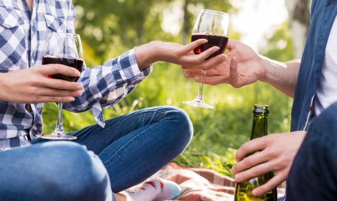 víno, pár, žena